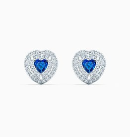 Swarovski Swarovski One Heart Stud Earrings, Blue, Rhodium Plated