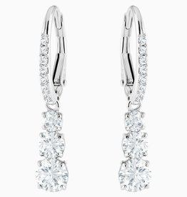 Swarovski Swarovski Attract Trilogy Round Dangle Earrings, White, Rhodium Plated