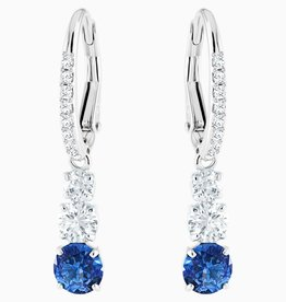 Swarovski Swarovski Attract Trilogy Round Dangle Earrings, Blue, Rhodium Plated