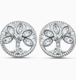Swarovski Swarovski Symbolic Tree Of Life Earrings, White, Rhodium Plated