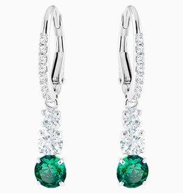 Swarovski Swarovski Attract Trilogy Round Dangle Earrings, Green, Rhodium Plated
