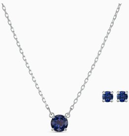 Swarovski Swarovski Attract Round Set, Blue, Rhodium Plated