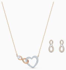 Swarovski Swarovski Infinity Heart Set, White, Rose Gold Plated