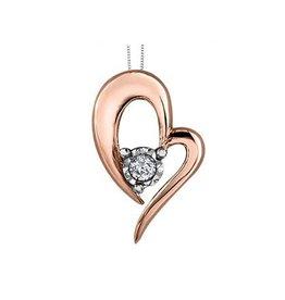 Illuminaire Rose Gold (0.05ct) Diamond Heart Pendant