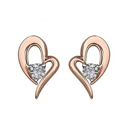 10K Rose Gold (0.02ct) Illusion Set Diamond Heart Earrings