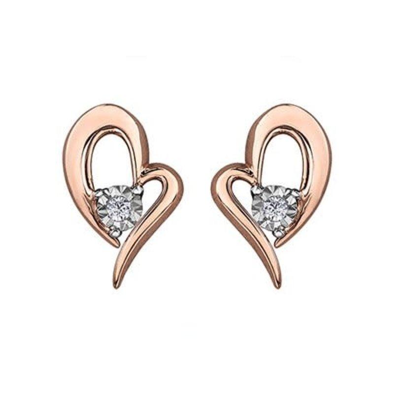 Illuminaire Rose Gold (0.02ct) Diamond Heart Earrings