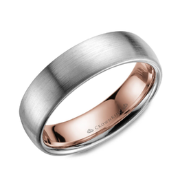 Crown Ring White and Rose Gold Brushed Mens Wedding Band (6mm)