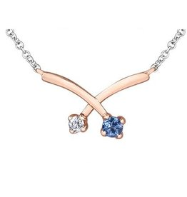 14K Rose and White Gold Tanzanite and Canadian Diamond Necklace