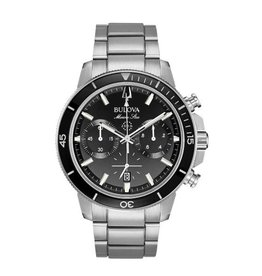 Bulova Bulova Marine Star Mens Chronograph Silver Tone with Black Dial Watch