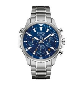 Bulova Bulova Marine Star Mens Chronograph Silver Tone with Blue Dial Watch
