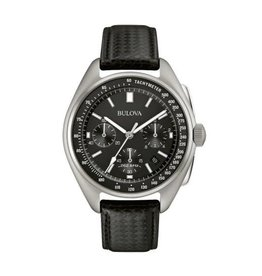 Bulova Bulova Special Edition Mens Lunar Pilot Chronograph Black Leather Strap Watch