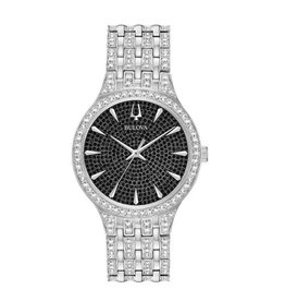 Bulova Bulova Crystal Mens Silver Tone with Black Pave Dial Watch