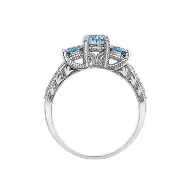 10K White Gold Aquamarine and Diamond Three Stone Ring