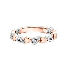 Rose and White Gold Diamond Heart Stackable Ring