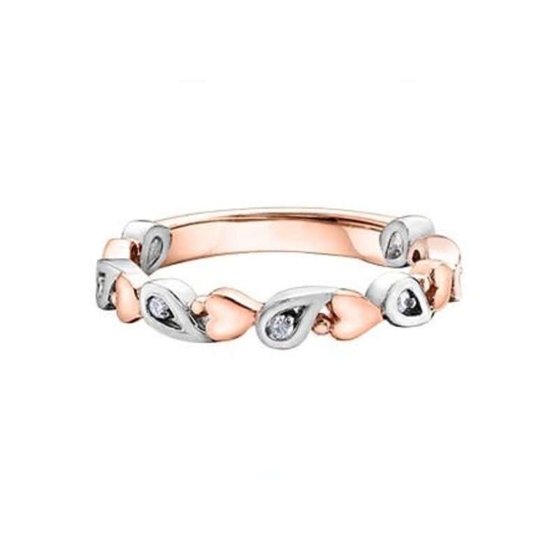 10K Two Tone Rose and White Gold (0.05ct) Diamond Stackable Heart Band