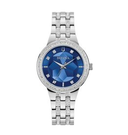 Bulova Bulova Crystal Ladies Silver Tone with Blue Dial Watch