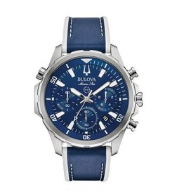 Bulova Bulova Marine Star Mens Chronograph with Blue Leather and Silicone Strap Watch