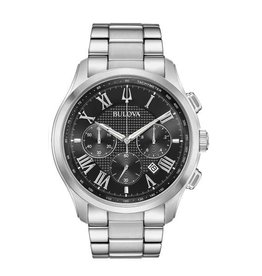 Bulova Bulova Classic Mens Silver Tone Chronograph Black Dial Watch