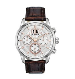 Bulova Bulova Classic Mens Chronograph Brown Leather Strap Watch