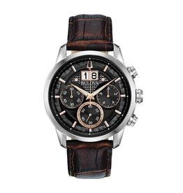Bulova Bulova Classic Mens Chronograph Brown Leather Strap with Black Dial Watch