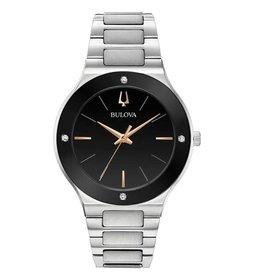 Bulova Bulova Futuro Mens Silver Tone Black Dial with Diamonds Watch