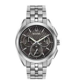 Bulova Bulova Curv Mens Chronograph Silver Tone With Black Dial Watch