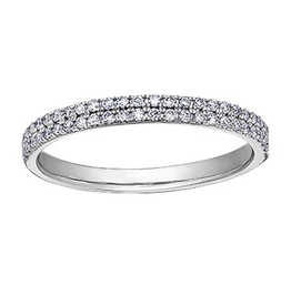 (10K, 14K) White Gold (0.25ct) Diamond Stackable Wedding Band