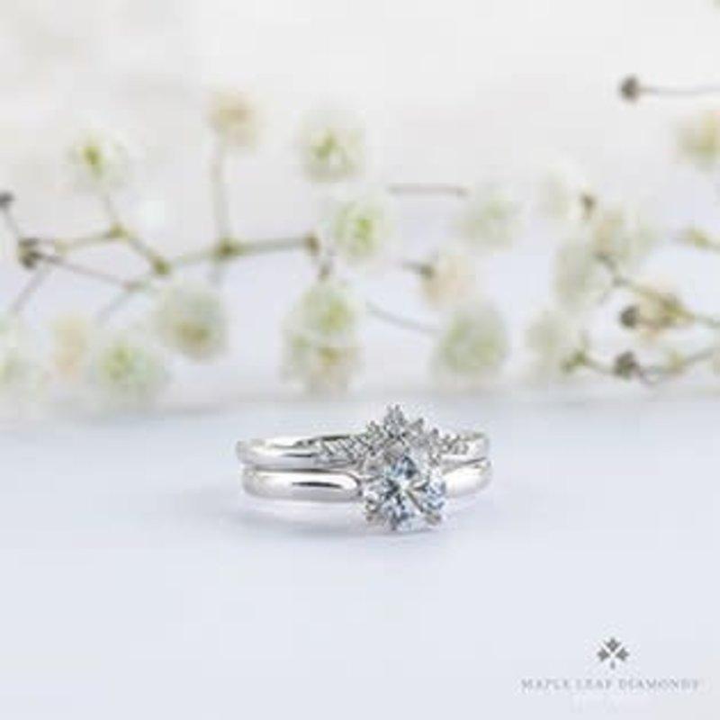 (10K, 14K, 18K) White Gold (0.15ct) Diamond Stackable Chevron Wedding Band