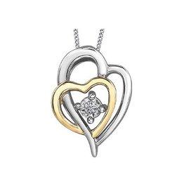 Illuminaire White and Yellow Gold Diamond Heart Pendant