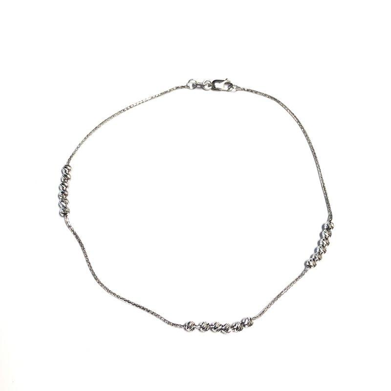 10K White Gold Miami Ankle Bracelet