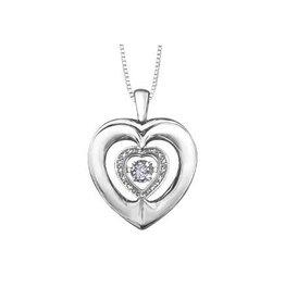 Sterling Silver (0.03ct) Dancing Diamond Heart Pendant