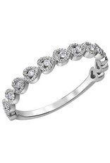 10K White Gold (0.10ct) Diamond Stackable Heart Wedding Band