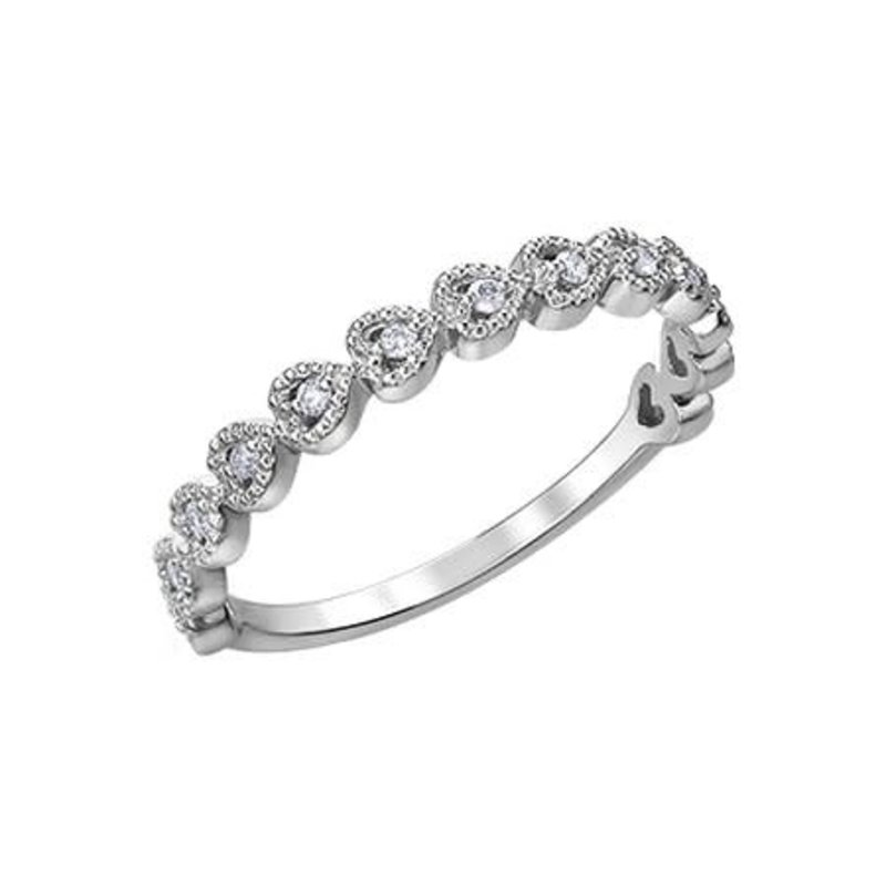 10K White Gold Heart Diamond Stackable Ring (0.10ct)