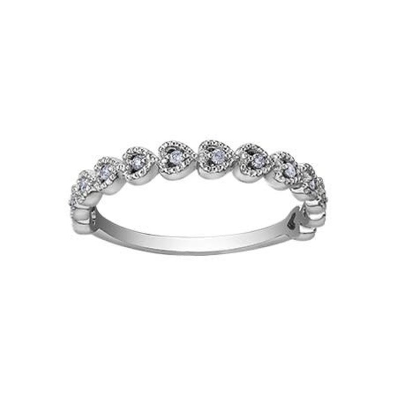10K White Gold Heart (0.10ct) Diamond Stackable Ring