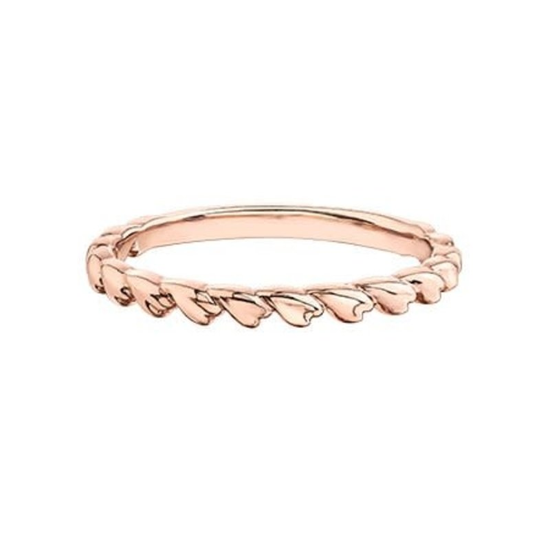 10K Rose Gold Heart Stackable Band