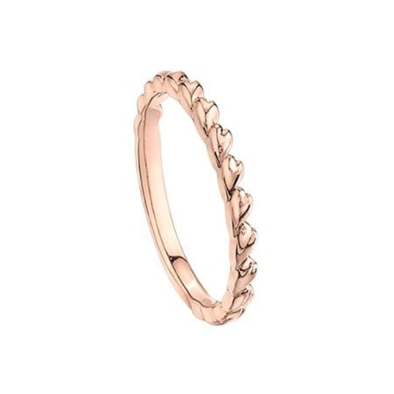 10K Rose Gold Heart Stackable Ring