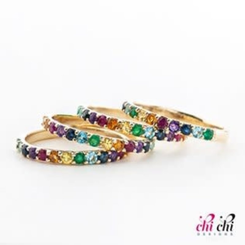 10K Yellow Gold Multi Gemstone Stackable Ring