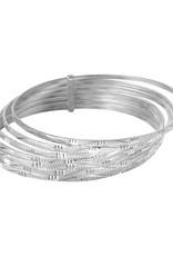 Sterling Silver High Polished Diamond Cut Semanario Bangle Bracelet