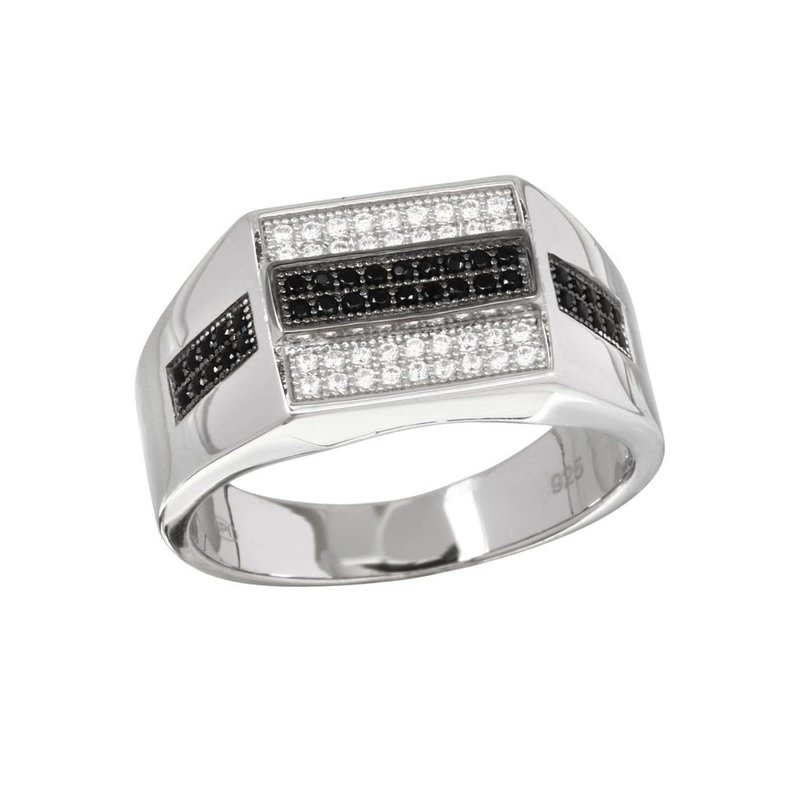 Sterling Silver Black and Clear CZ Men's Ring