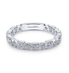 Gabriel & Co 14K White Gold Geometric Diamond Ladies Ring