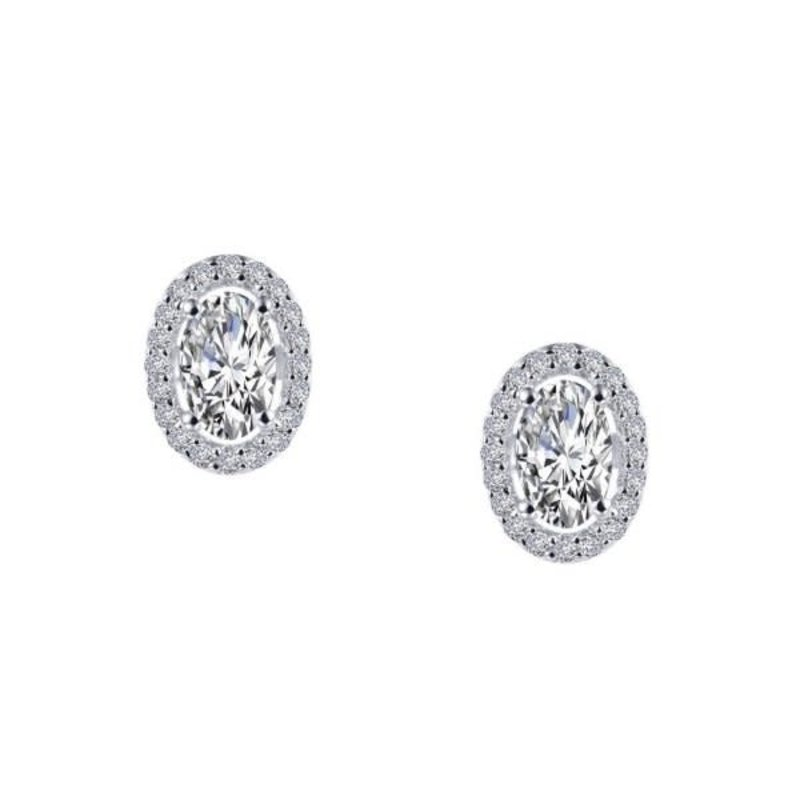 Lafonn Lafonn Sterling Silver Oval Halo Stud Earrings with Simulated Diamonds