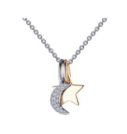 Lafonn Lafonn Sterling Silver Two Tone Moon & Star Necklace with Simulated Diamond