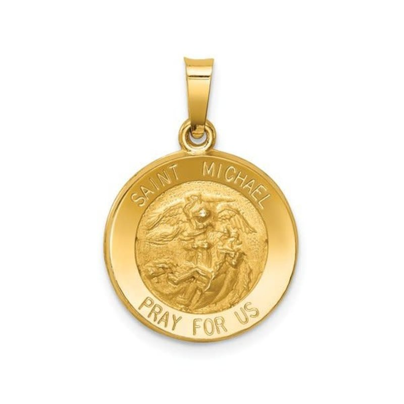 14K Yellow Gold St. Michael Medal Pendant (Hollow)