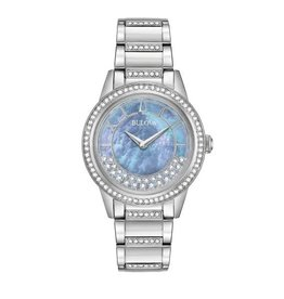 Bulova Bulova Crystal Ladies Silver Tone with Periwinkle Mother of Pearl Dial Watch