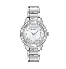 Bulova Bulova Crystal Ladies Silver Tone with Mother of Pearl and Swarovski Dial Watch