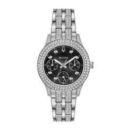 Bulova Bulova Crystal Ladies Silver Tone Chronograph Black Dial Watch