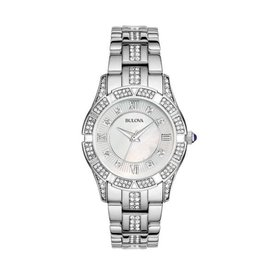 Bulova Bulova Crystal Ladies Silver Tone with Mother of Pearl Dial Watch