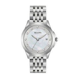 Bulova Bulova Classic Ladies Silver Tone Diamond and Mother of Pearl Dial Watch