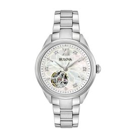 Bulova Bulova Automatic Ladies Silver Tone Diamond and Mother of Pearl Dial Watch