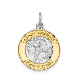 Sterling Silver & Gold Tone St. Michael Medal Pendant